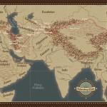 Trasa podróży wzdłuż Jedwabnego Szlaku - z książki