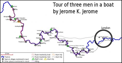 Trzech panów w łódce - mapa wycieczki - oprac. Grzegorz Bednarczyk (Wikipedia)