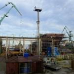 Industrialne stoczniowe widoki z poczekalni
